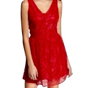 Express cherry red lace party dress